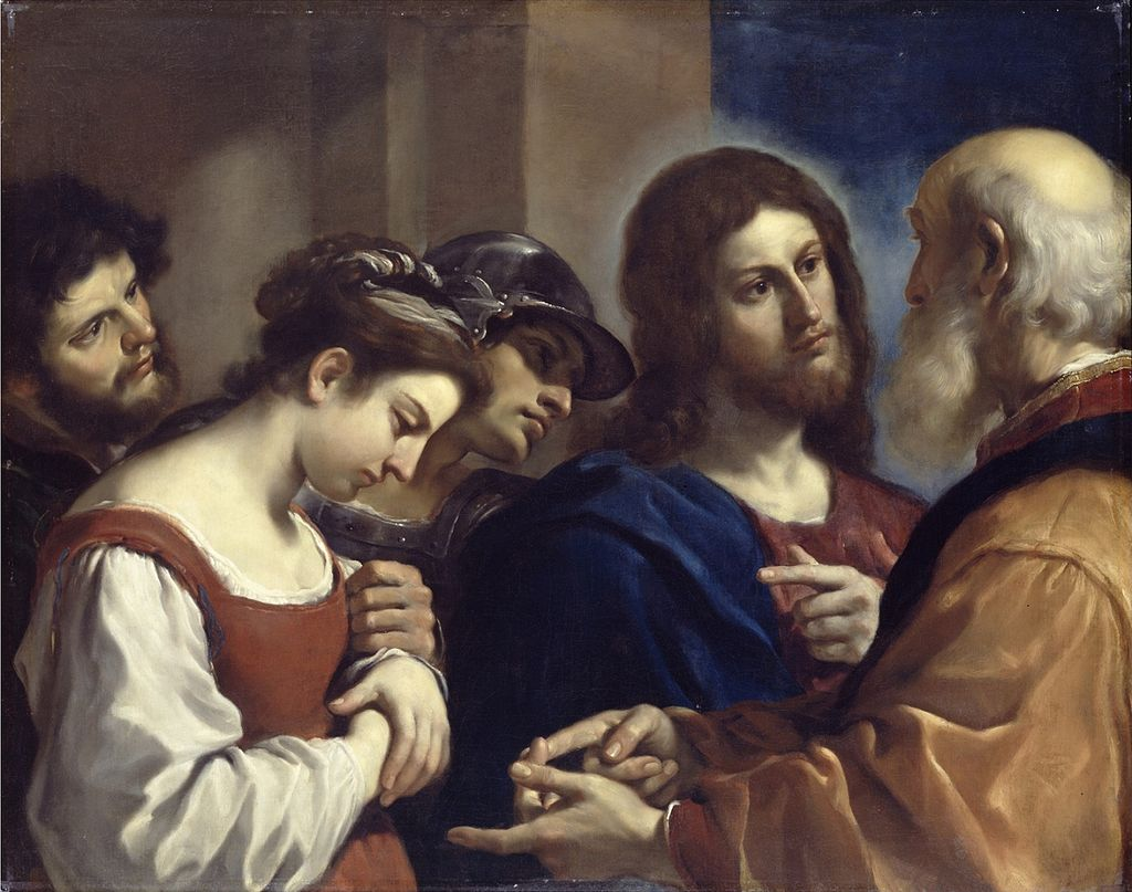 BN Apr 15 Christ with the Woman Taken in Adultery by Guercino