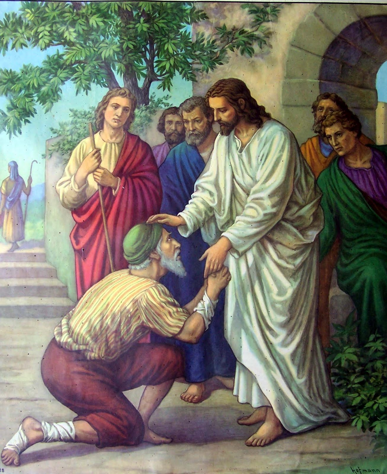 Jesus healing the leper