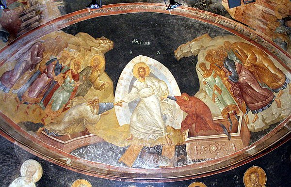 BN May 13 Anastasis, fresco found in Chora