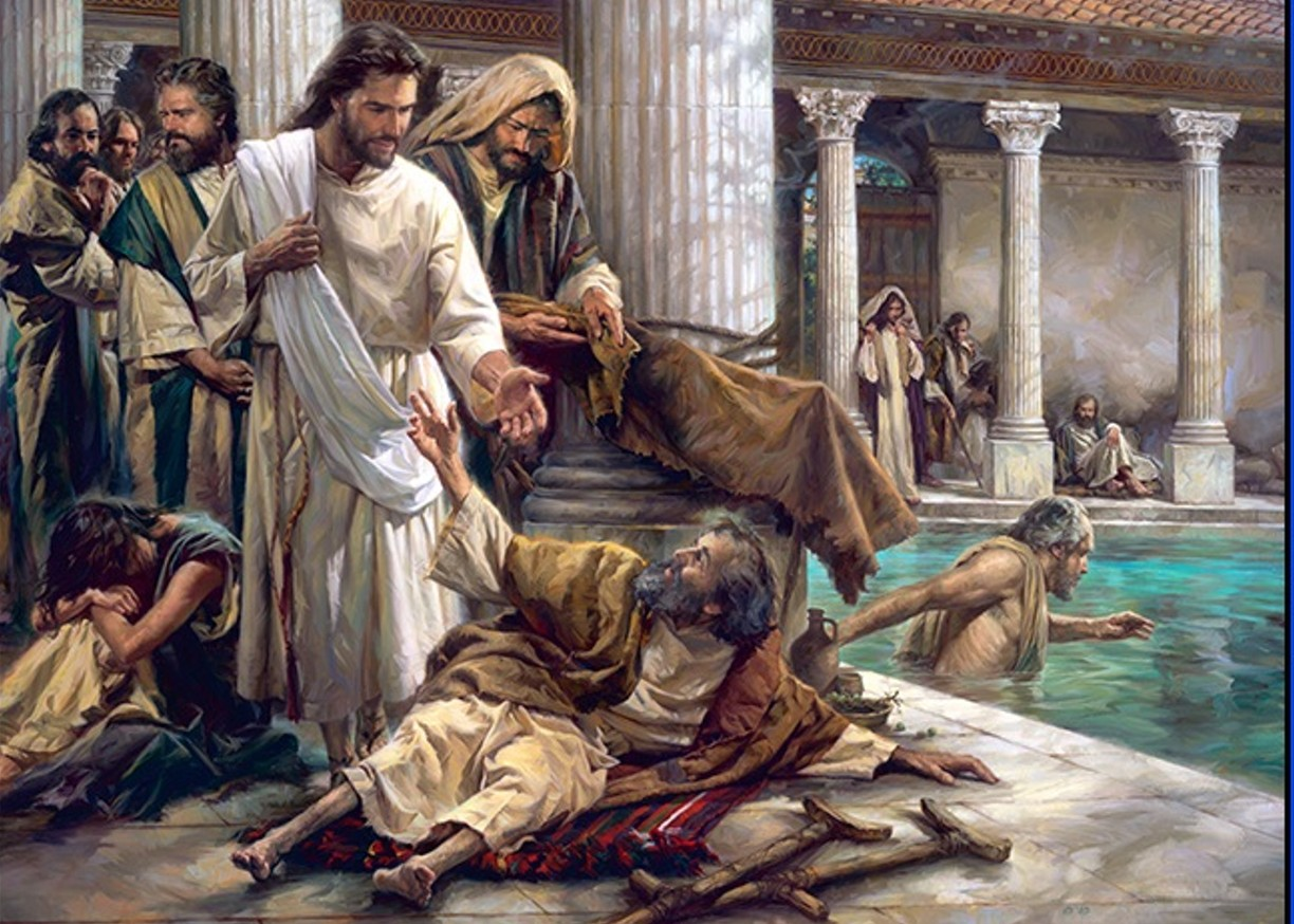 Jesus heals a lame man at the Pool of Bethesda