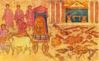 BN Jan 26 Fresco of the Philistine captivity of the ark in the Dura-Europos synagogue